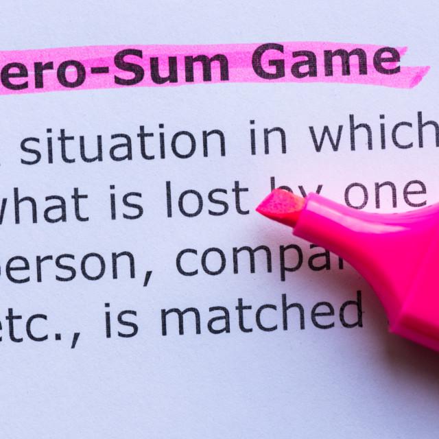 """zero sum game"" stock image"
