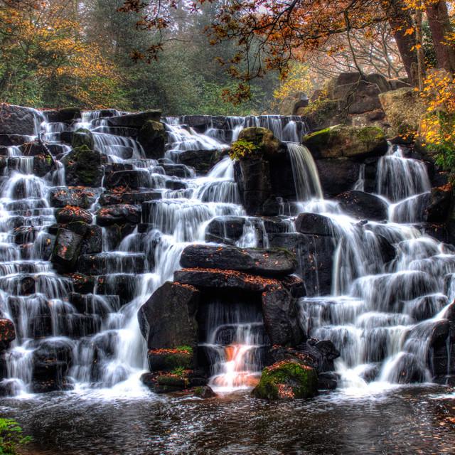 """""""Virginia Water cascade"""" stock image"""