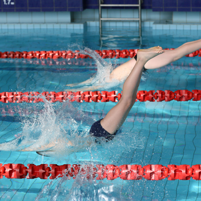 """""""Swimming competition at school."""" stock image"""
