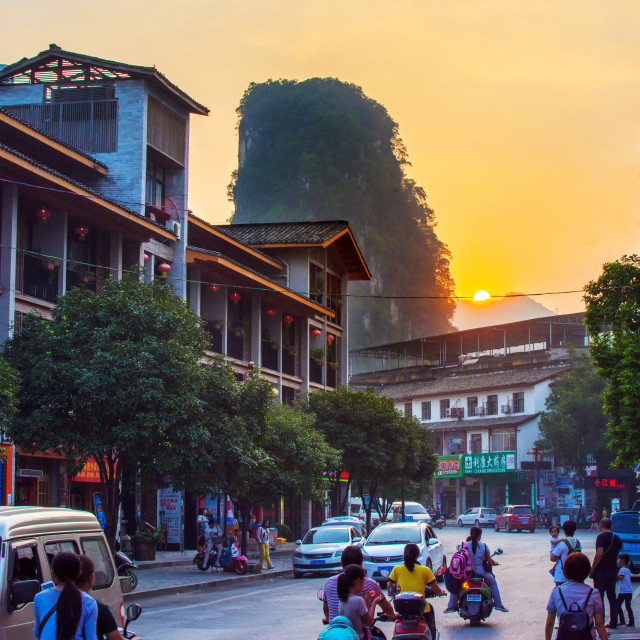 """YANGSHUO, CHINA - SEPTEMBER 23 2016: Stunning sunset on the crow"" stock image"