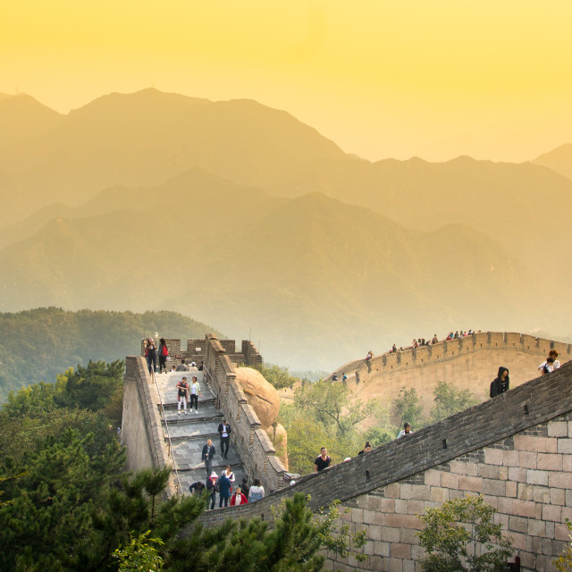 """Tourists walking on the Great wall of China"" stock image"