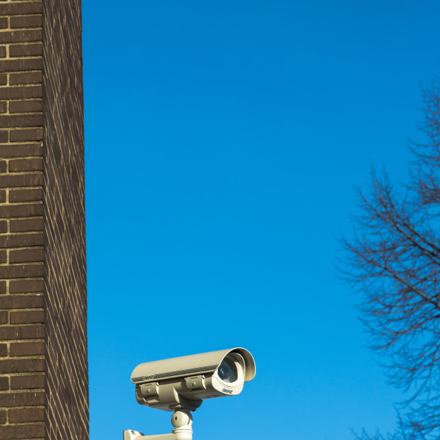 """""""CCTV video camera on private property recording surroundings"""" stock image"""