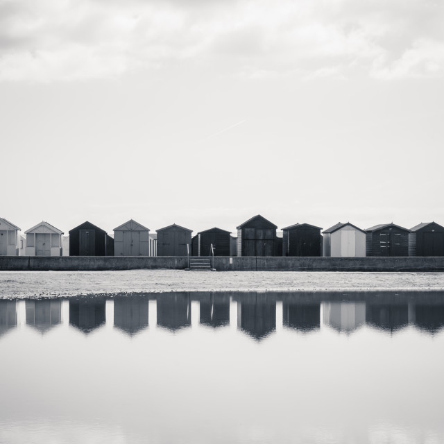"""Beach Huts Reflected I"" stock image"
