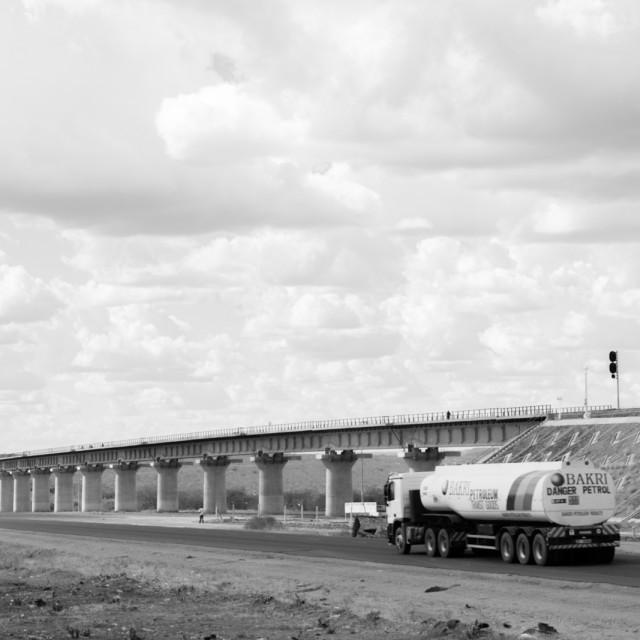 """Bridge and Track #CelebrateAfrica"" stock image"