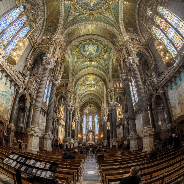 """""""La Basilique Notre Dame de Fourvière"""" stock image"""