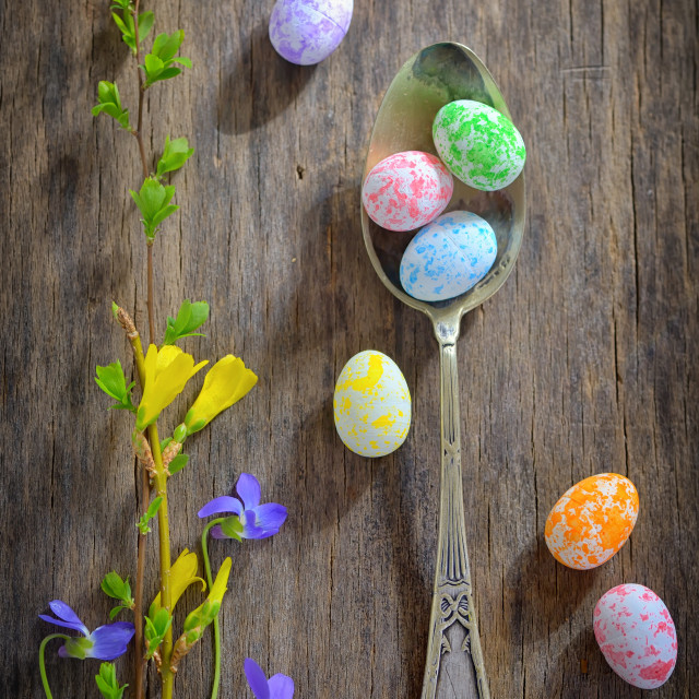 """Easter wooden table setting"" stock image"
