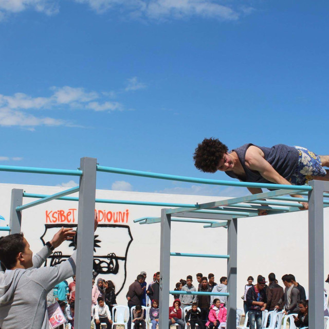 """Taher Nagati performing in Street workout competition"" stock image"