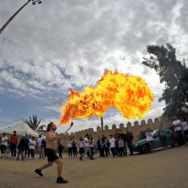 """Taher nagati blowing fire in kairouan"" stock image"