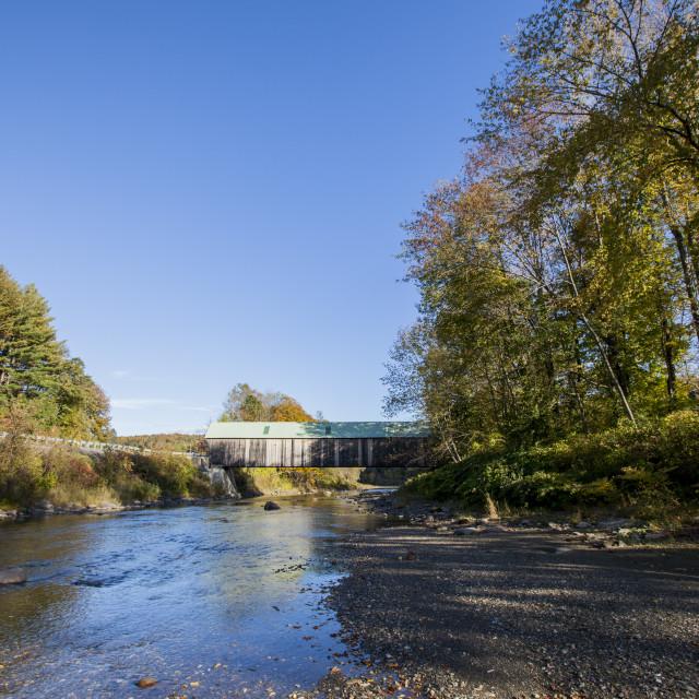 """Blue Wooden bridge, USA"" stock image"