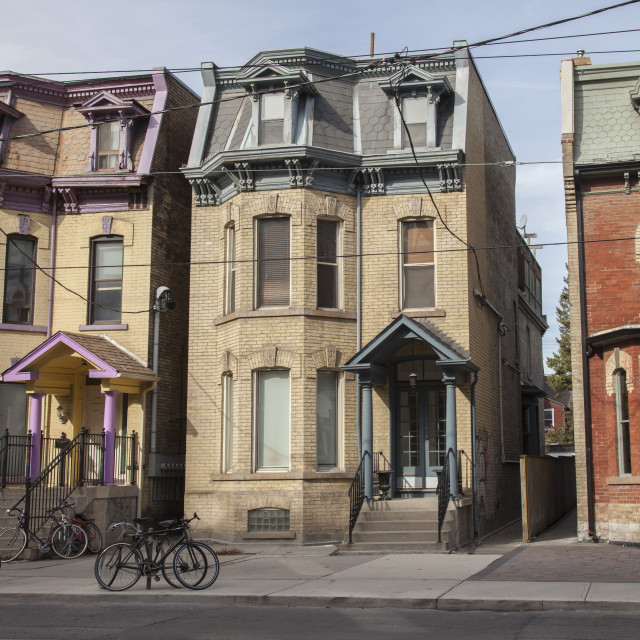 """Row of old house, Toronto, Canada"" stock image"