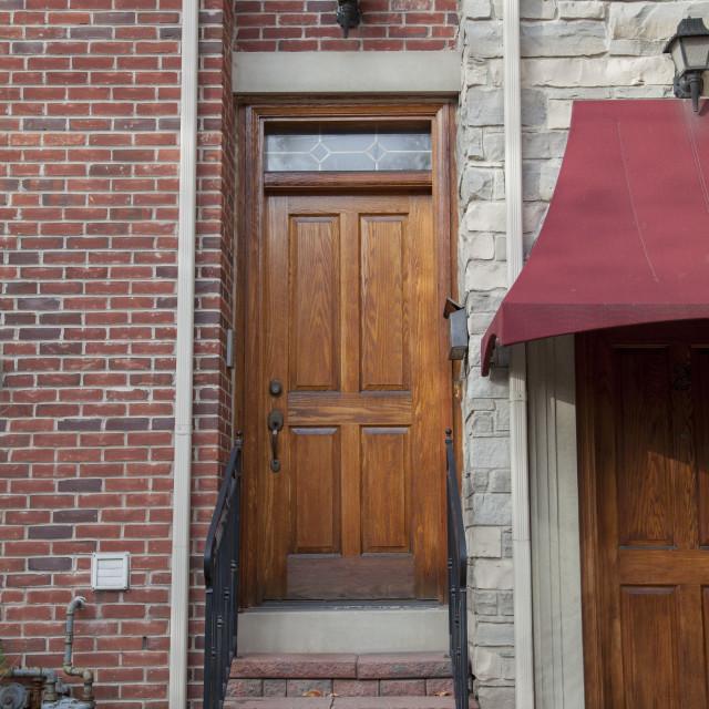 """""""Wood door, Home in Toronto"""" stock image"""