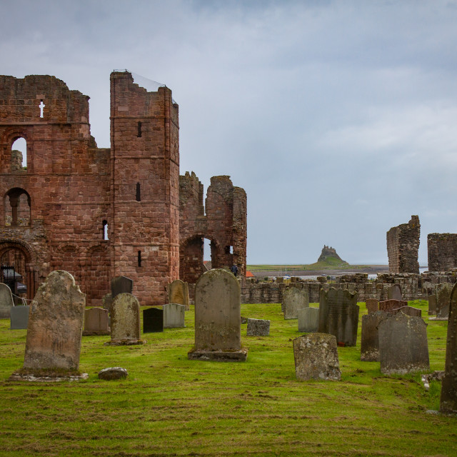 """St Aidan's Church and Lindisfarne Castle"" stock image"