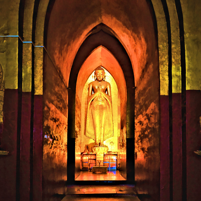 """Golden Buddha in Bagan"" stock image"