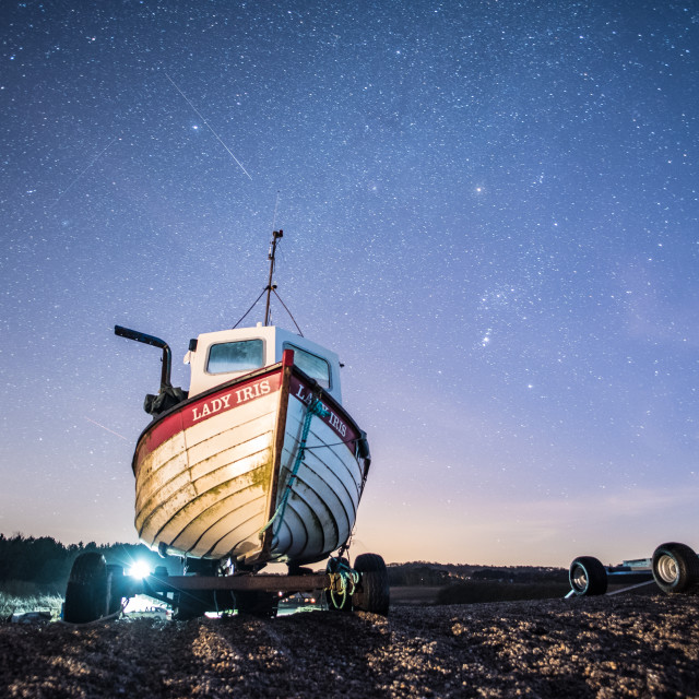 """Shooting Stars and Orion Over Weybourne Beach"" stock image"