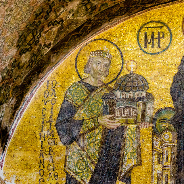 """""""Mosaic of the emperor Justin in Hagia sofia, Istanbul"""" stock image"""