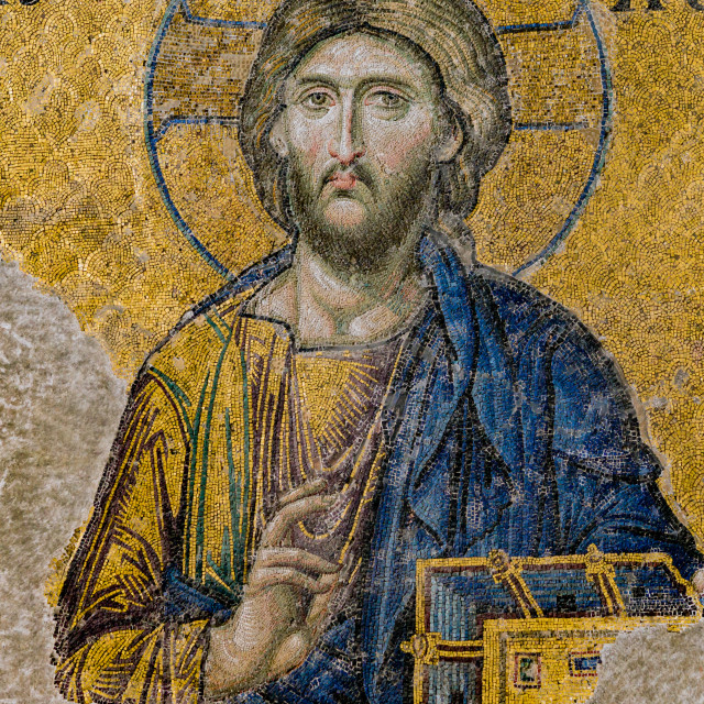 """Jesus Christ, a Byzantine mosaic in Hagia Sophia Istanbul, Turke"" stock image"
