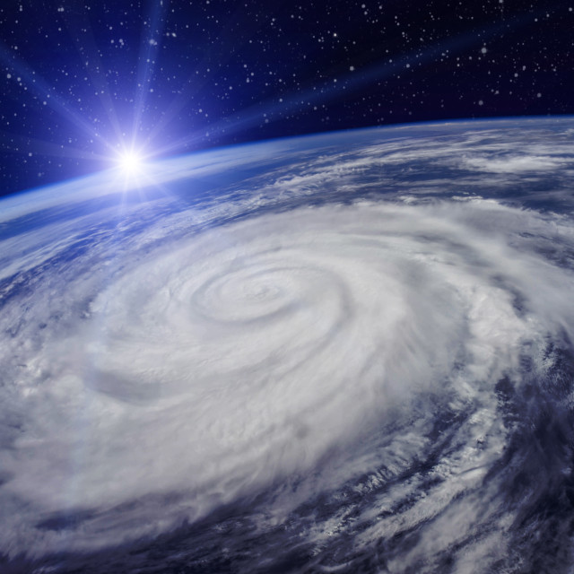 """Huge Cyclone Due to the Global Warming"" stock image"