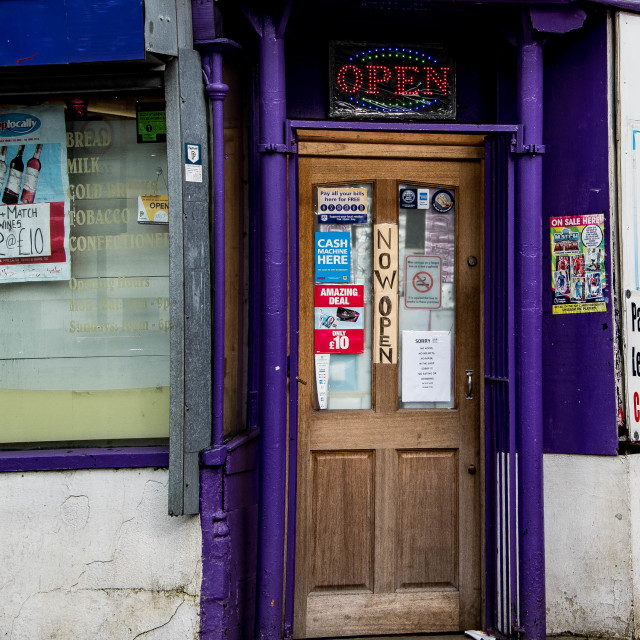 """Corner Shop Door."" stock image"