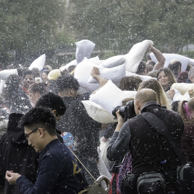"""International Pillow Fight Day 2017 – London"" stock image"