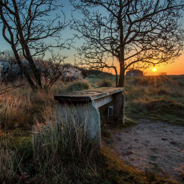 """Sunrise Seat At Beaumont Quay"" stock image"