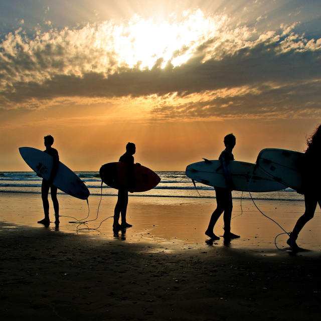 """Surfers on the beach"" stock image"