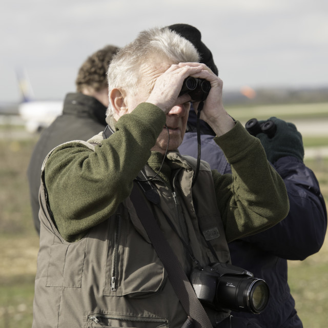 """London Stansted Airport flights and spotters"" stock image"