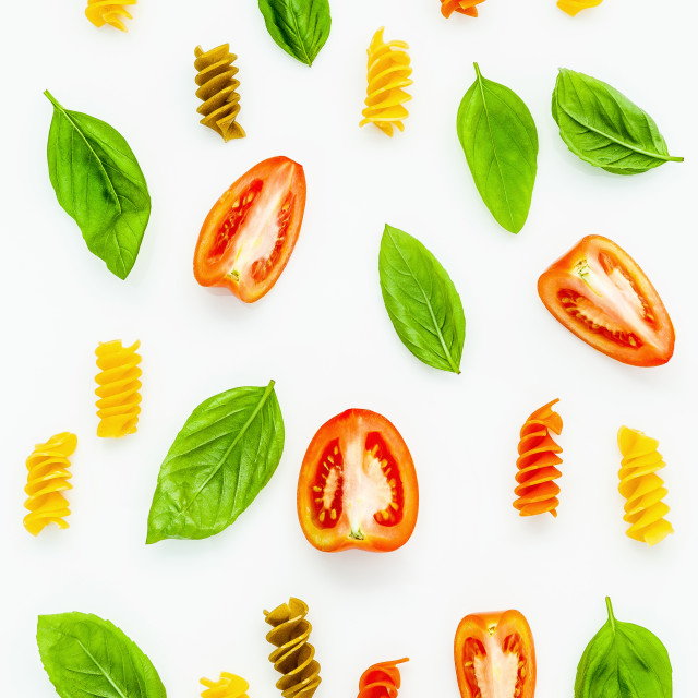 """Italian foods concept and menu design. Fusilli with tomato and sweet basil..."" stock image"