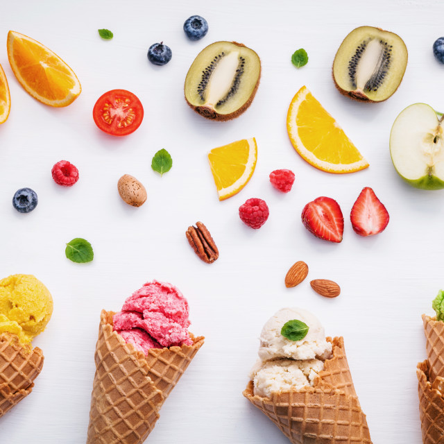 """Cones and colorful various fruits raspberry ,blueberry ,strawberry ,orange..."" stock image"