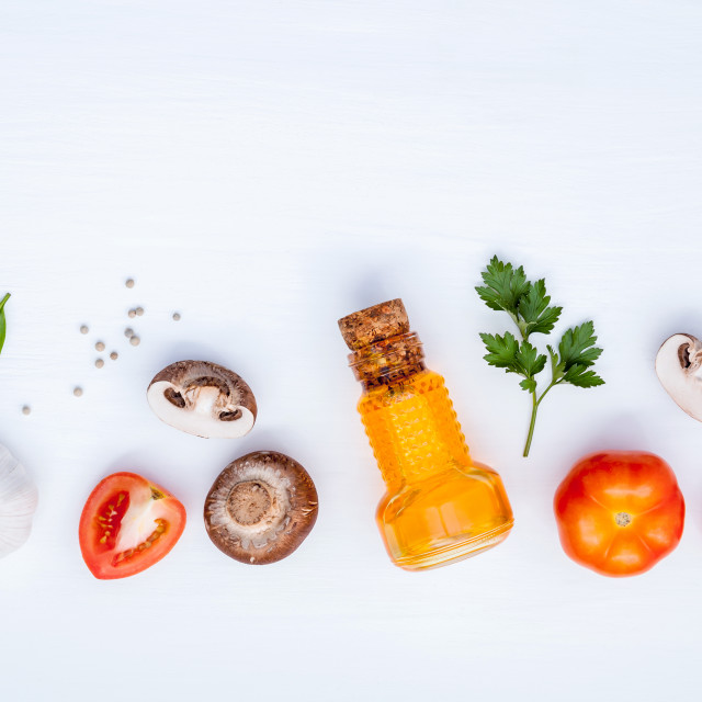 """Various vegetable and ingredients for cooking pasta menu sweet basil ,tomato..."" stock image"