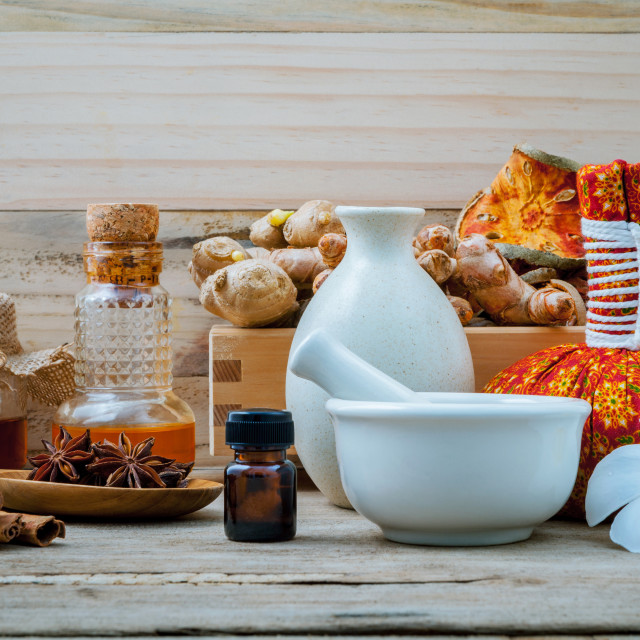 """Natural Spa ingredients and bottle of herbal extract oil for alternative..."" stock image"