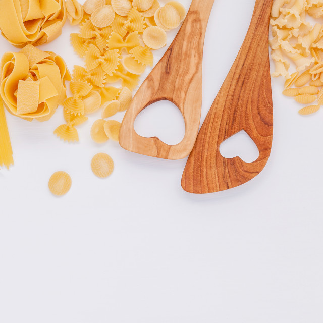 """Italian foods concept and menu design. Various kind of Pasta Farfalle, Pasta..."" stock image"