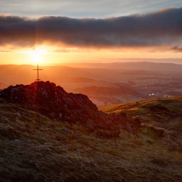 """Ben Ledi - Lawrie Memorial at Sunrise"" stock image"