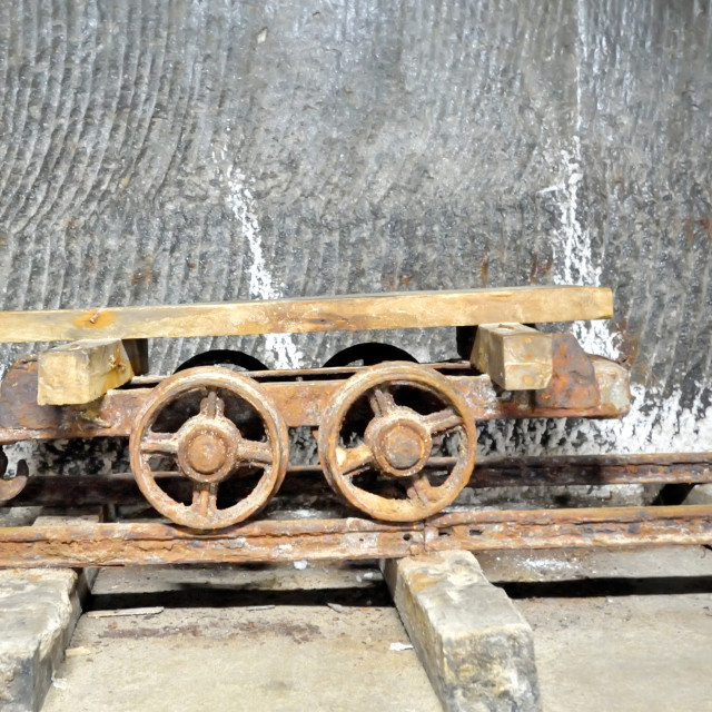 """old wagon inside of salt mine"" stock image"