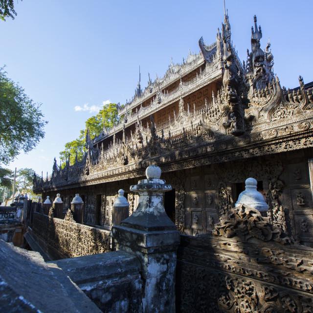 """""""Golden Palace Monastery (Shwenandaw Kyaung)"""" stock image"""