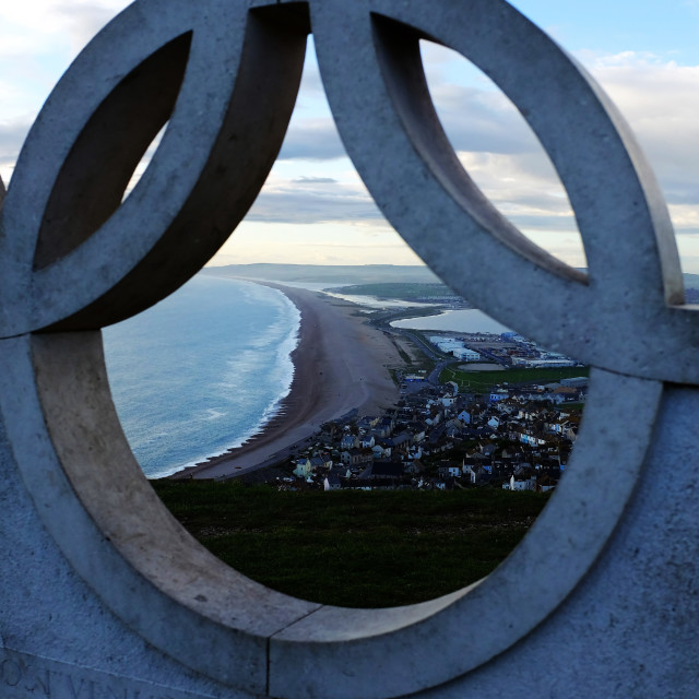 """Through the Olympic Sign"" stock image"
