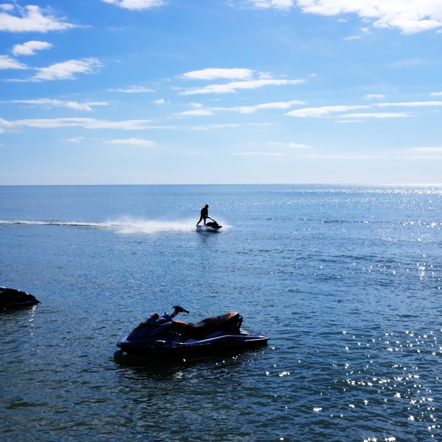 """Jet Skis at Bowleaze Cove"" stock image"