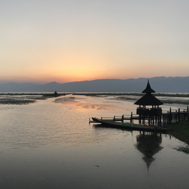 """Sunset over Inle Lake"" stock image"
