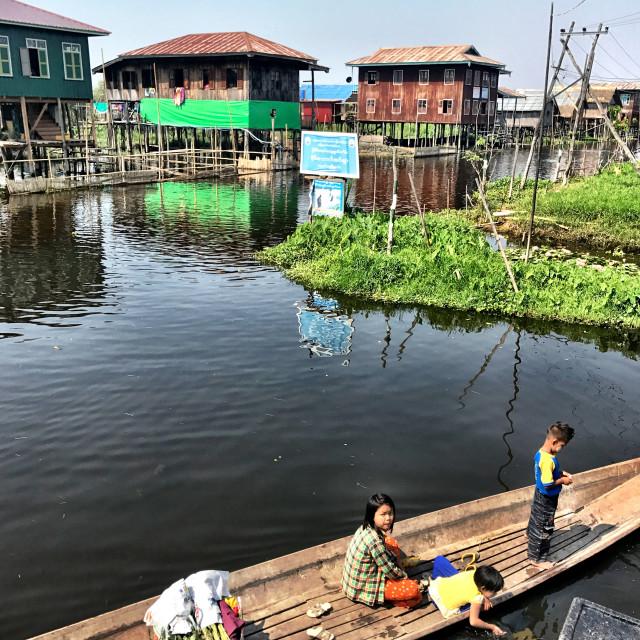 """locals of Inle Lake, Myanmar"" stock image"