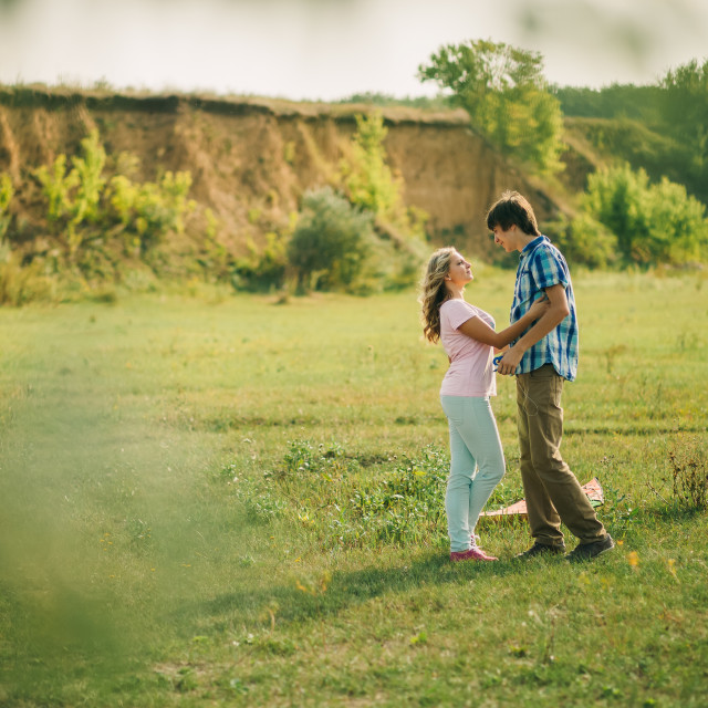 """lovely couple at green picturesque village"" stock image"