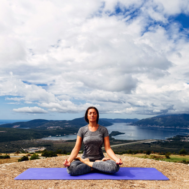 """woman yoga relaxation in tranquil landscape"" stock image"
