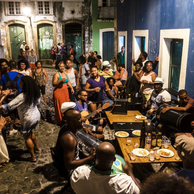 """Neighborhood party in the popular neighborhood of Pelourinho"" stock image"