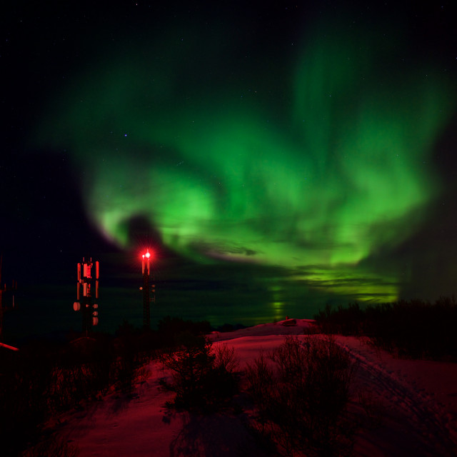 """Northern Lights over antenna mast"" stock image"