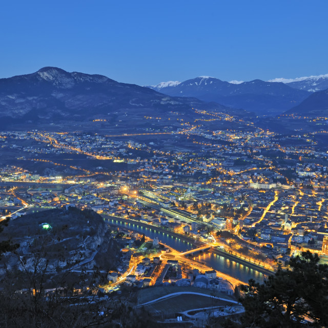 """Overview of Trento in night time"" stock image"