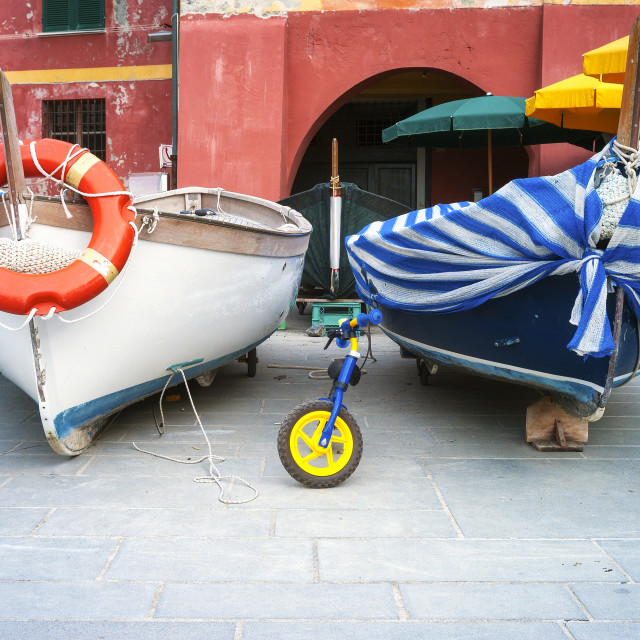 """""""Fishing boats of Vernazza. Color image"""" stock image"""