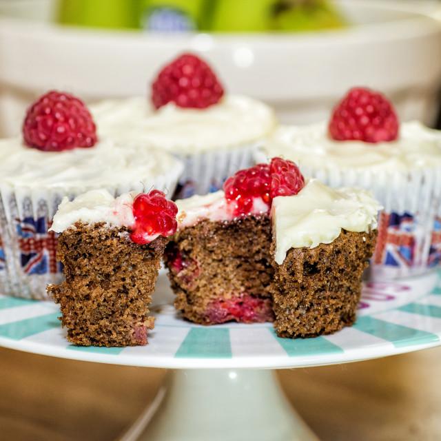 """Chocolate & Raspberry Cakes"" stock image"