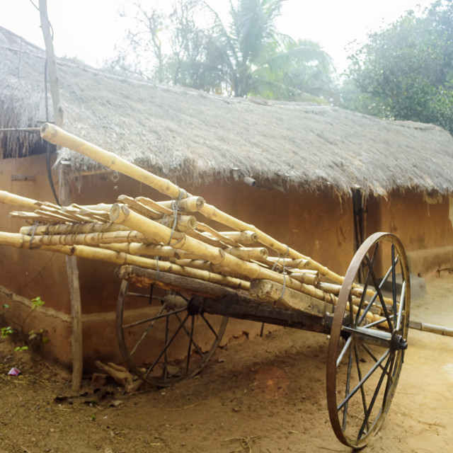 """A bamboo made hand drawn cart in front of a mud house of a triba"" stock image"