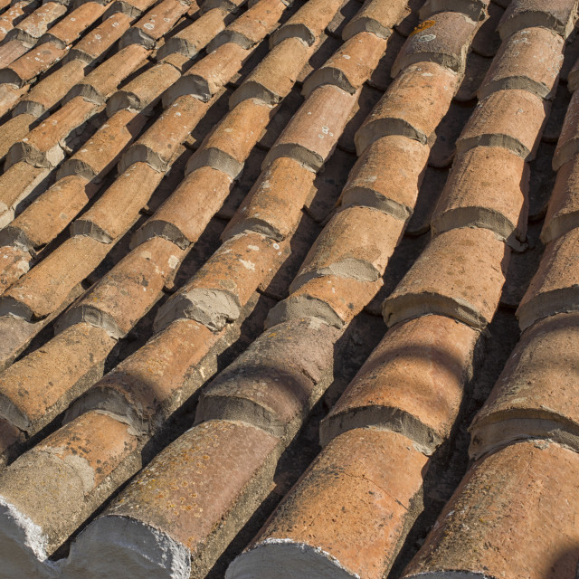 """Old ceramic pottery terracotta roof tiles"" stock image"