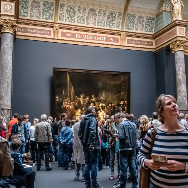 """""""Interior of Rijksmuseum in Amsterdam in Hall of Rembrandt"""" stock image"""