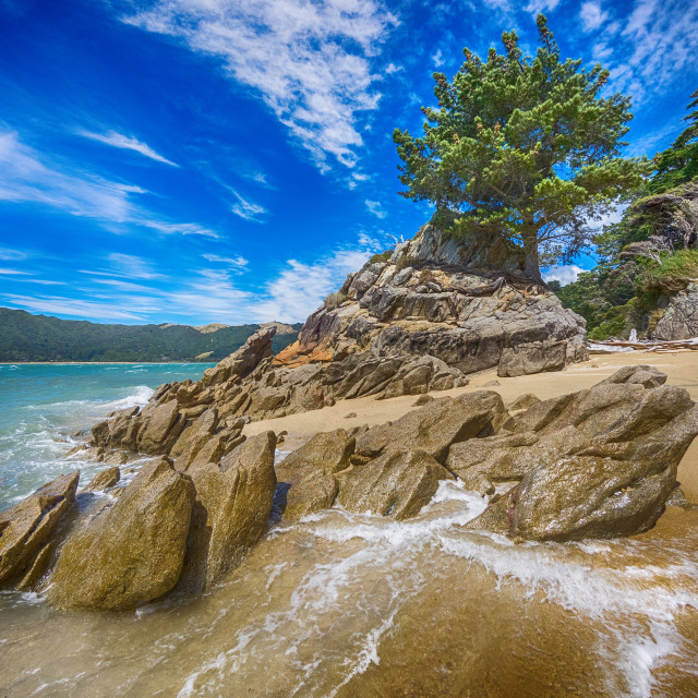 """Rocky outcrop of seacoast"" stock image"