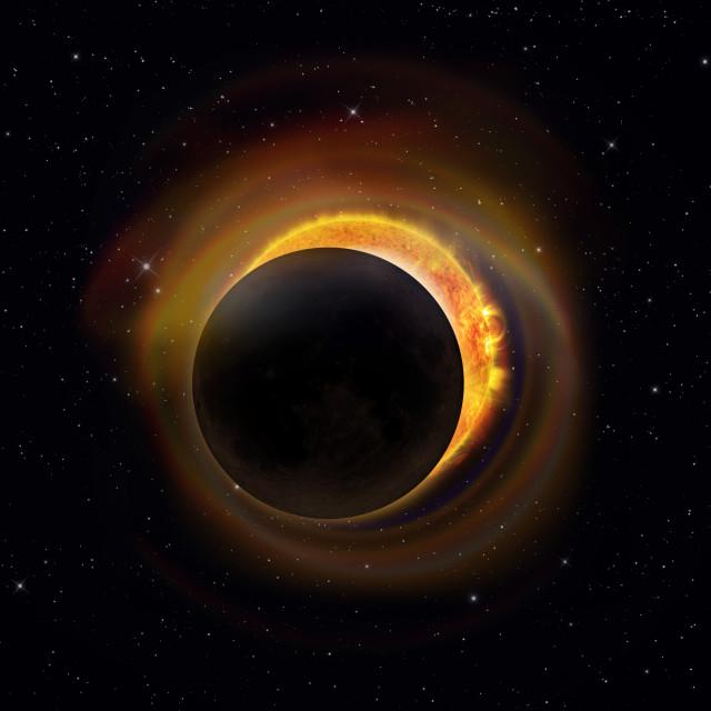 """Solar Eclipse on Starry Sky"" stock image"